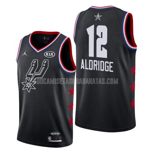 camiseta san antonio spurs lamarcus aldridge 12 negro nba all-star hombres 2019