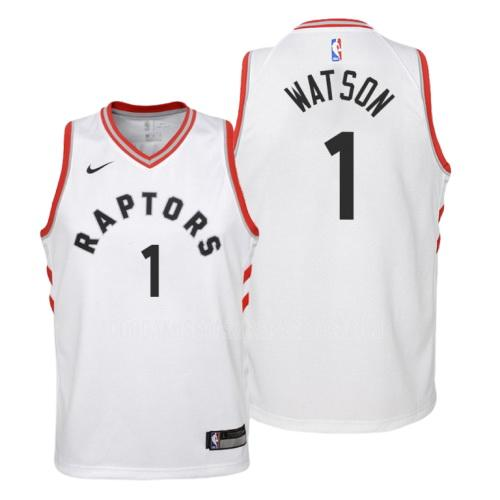 camiseta toronto raptors paul watson 1 blanco association niños 2019-20