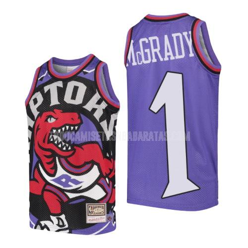 camiseta toronto raptors tracy mcgrady 1 morado hardwood classics big face niños
