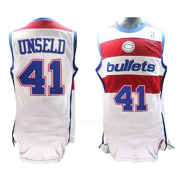 camiseta washington bullets bullets westley 41 blanco retro hombres