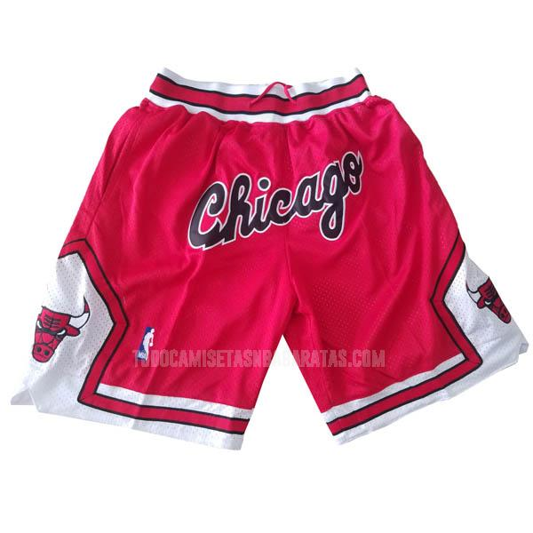 pantalones cortos nba chicago bulls rojo just don bolsillo-retro