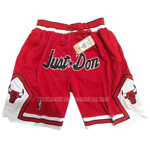 pantalones cortos nba chicago bulls rojo just don bolsillo